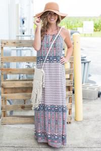 Greek Isles Maxi Dress - Coral/Navy