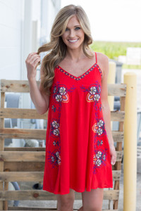 Embroidered Slip Dress - Red