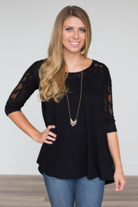 Embroidered Sheer Sleeve Top - Black