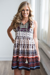 Embroidered Sleeveless Printed Dress - Taupe Multi