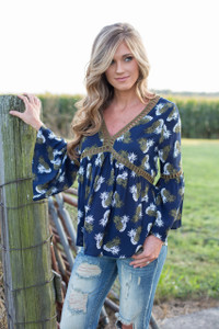 Fall Pineapple Print Top - Navy/Olive