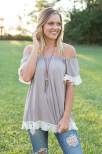 Tassel Trim Off the Shoulder Tunic - Taupe