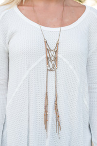 Cage Braided Tassel Necklace - Gold