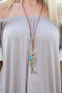 Faux Suede Circle Charm Necklace - Brown/Turquoise