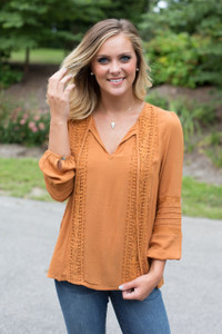 Floral Lace Detail Long Sleeve Top - Caramel