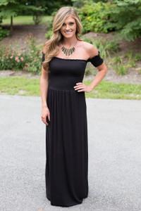 Jenna Off the Shoulder Maxi Dress - Black
