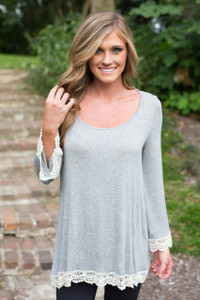 Crochet Trim Long Sleeve Tunic - Grey
