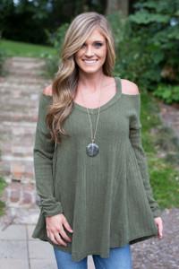 Cold Shoulder Ribbed Sweater - Olive
