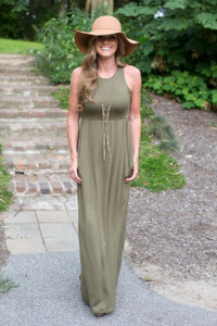 Racerback Maxi Pocket Dress - Olive