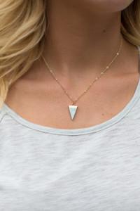 Mini Marble Triangle Pendant Necklace - Mint