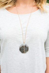 Large Stone Pendant Necklace - Brown