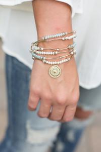 Wrap Around Beaded Bracelet - Light Blue/White