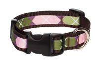 Sweet Pea Dog Collar - Pink Argyle on Brown
