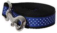 Pembroke Polka Dot Dog Leash-Blue