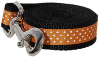 Pembroke Polka Dot Dog Leash-Orange