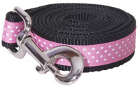 Pembroke Polka Dot Dog Leash-Pink