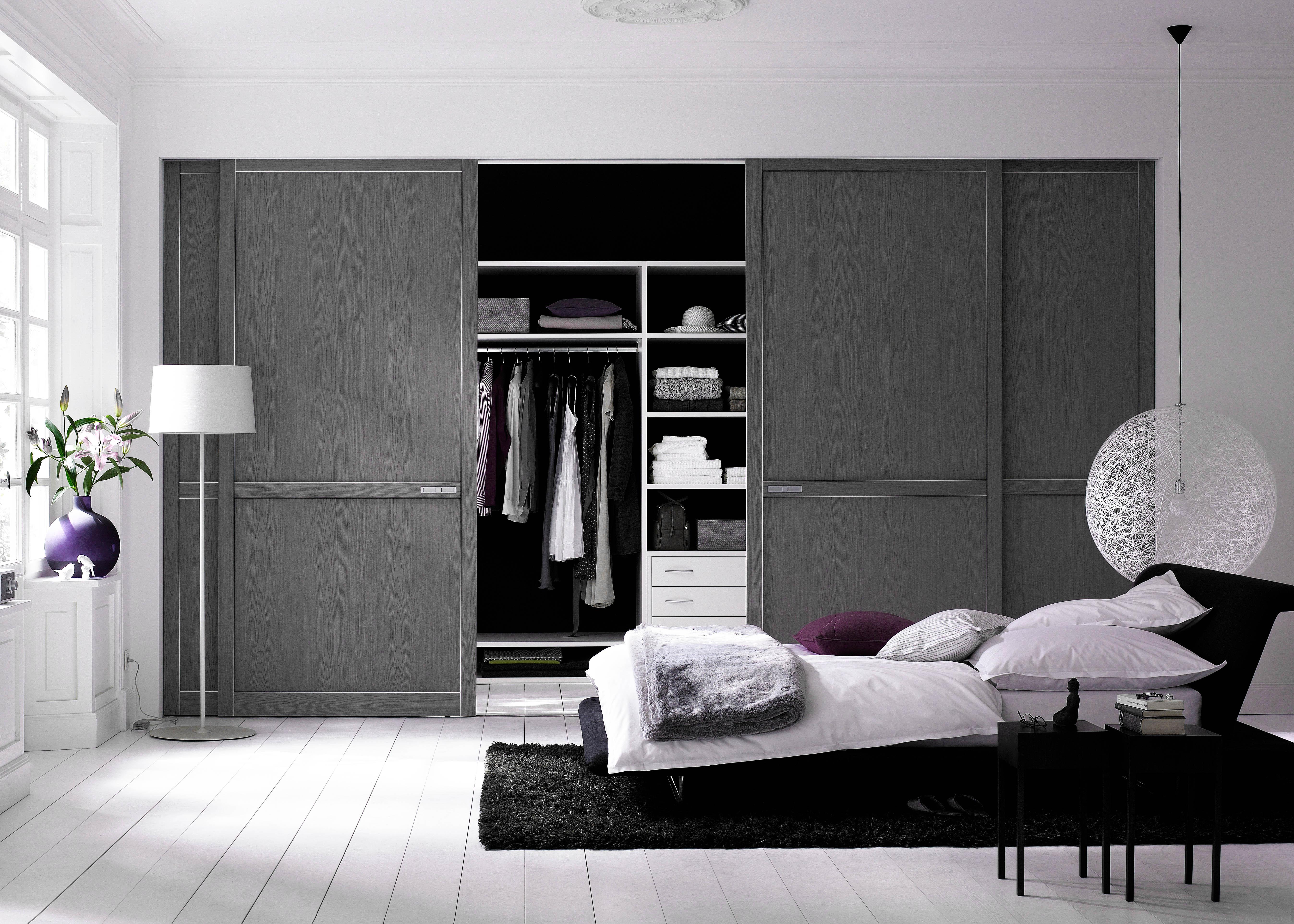 Gray Painted Interior Closet Doors