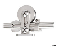 This is a modern barn door hardware that is specifically made for mounting on a wood panel.