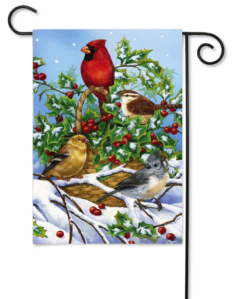 Basket of Holly and Birds Garden Flag