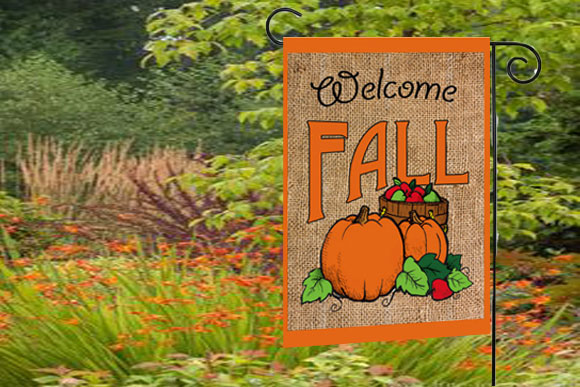 Burlap Fall Garden Flags