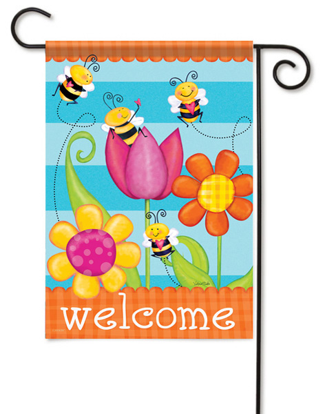 Buzzing Welcome Decorative Garden Flag
