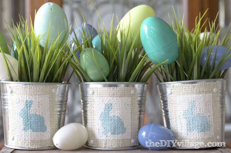 Adorn containers with festive Easter bunnies