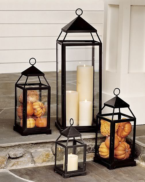 Fall Lanterns filled with pumpkins and gourds