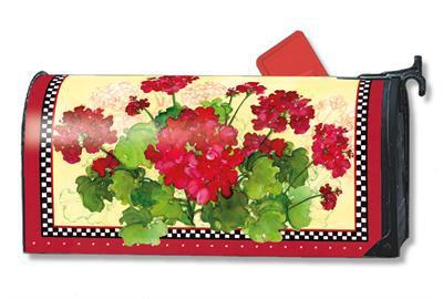 Geraniums and Checks Magnetic Mailbox Cover