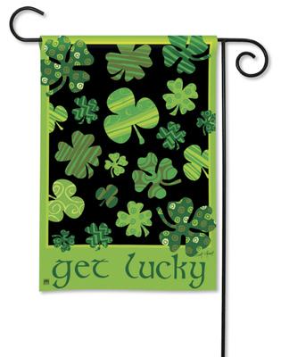 Get Lucky Shamrock Garden Flag
