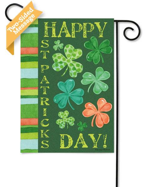 Happy St. Pata's Shamrock Garden Flag