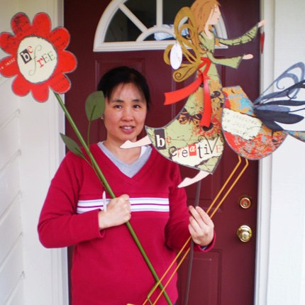 Victoria with her garden stakes