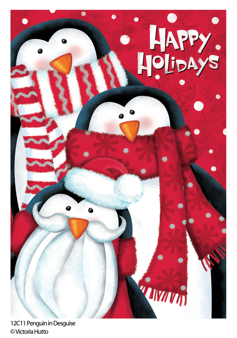 Christmas Penguins Decorative Flag by Victoria Hutto