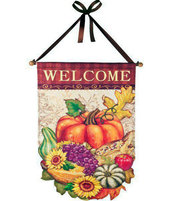 Welcome Fall Flag Door Banner