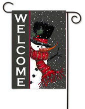 Snowman Welcome Toland Winter Garden Flag