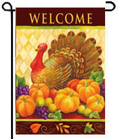 Turkey Harlequin Toland Thanksgiving Garden Flag