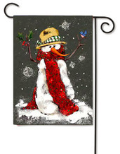 Red Scarf Snowman Toland Winter Garden Flag