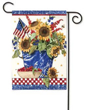 Patriotic Sunflowers Toland Garden Flag