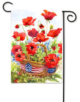 Patriotic Poppies Garden Flag by Toland