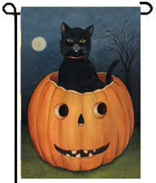 Hollow Cat Toland Halloween Garden Flag