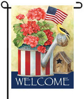 Patriotic Watering Can Toland Garden Flag