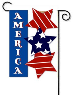 4th of July Sculpted Applique Patriotic Garden Flag -  Reads Correctly On Both Sides