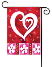 Heart and Flowers Valentine's Day Garden Flag by Toland
