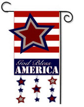God Bless America Patriotic Applique Garden Flag - Reads Correctly On Both Sides