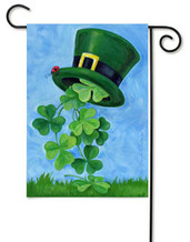 St Patrick's Clovers and Hat Toland Garden Flag
