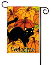 Pumpkin Patch Cat Halloween Garden Flag