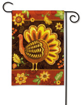 Folk Turkey Thanksgiving Garden Flag