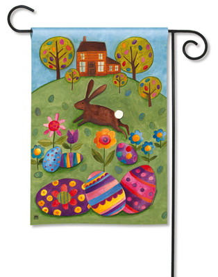 Rabbit With Easter Eggs Garden Flag by Breeze Art
