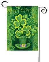 Happy St. Patrick's Day Clovers Toland Decorative Garden Flag
