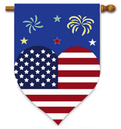 Patriotic Heart and Fireworks Deluxe Applique House Flag