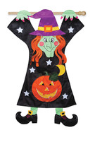 Hang On Witch Double Applique Halloween House Flag